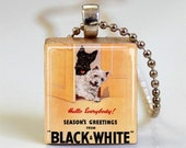 Christmas Jewelry - Season's Greetings Vintage Liquor Ad Scrabble Tile Pendant (ITEM S696) Free Ball Chain Necklace or Key Ring