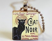 Chat Noir Vintage French Poster Scrabble Tile Pendant with Ball Chain Necklace Included (ITEM S514) - MissingPiecesStudio