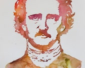 Autumnal Poe - Edgar Allan Poe - original watercolour painting