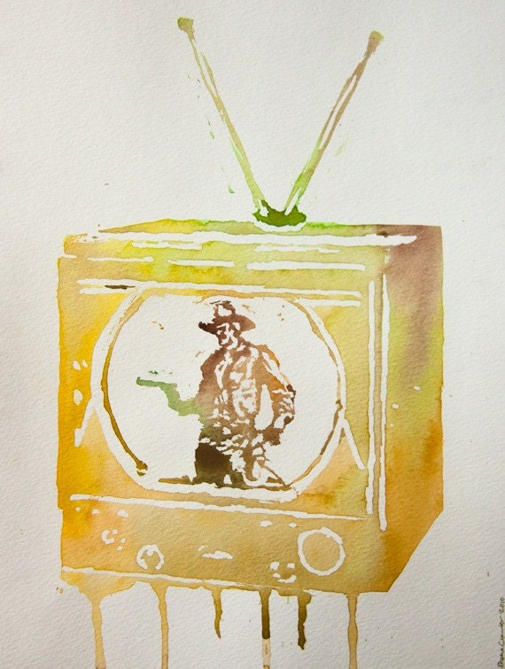 This Cowboy is Acting - original watercolour painting