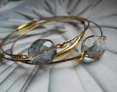 Brass,Gold  and Chechoslovakian fire polished glass three Bangle Stacking Bracelets, Everyday Casual, Modern Bangles