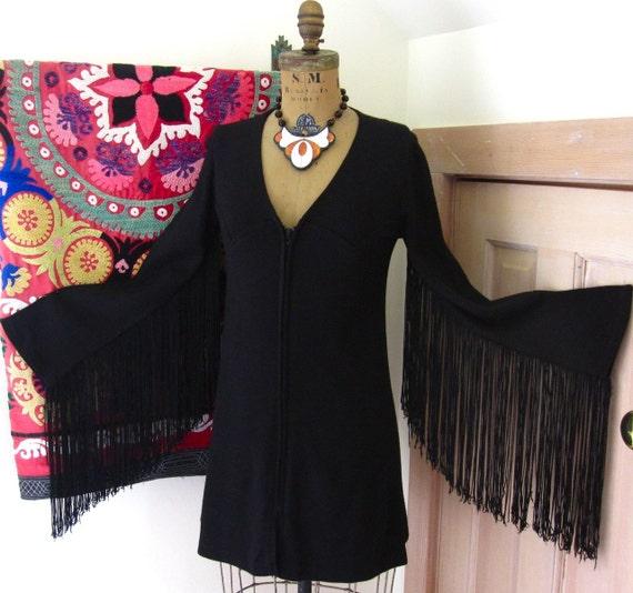 Vintage Goth 1970s Black Fringe Sleeve Western Ozzy Mini Dress