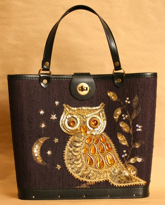 Vintage ENID COLLINS Style Jeweled 1960s OWL and MOON Purse