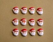 Edible mini sugar Santas - (12) - cake and cupcake toppers