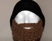 Black and Brown Crochet Beard Hat Size Small to Large Adult Free Shipping