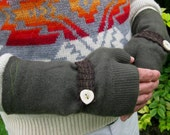 forest green antler button cashmere mitts