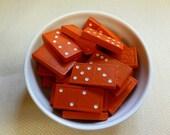 Vintage ORANGE Wooden Dominoes - Home Decor, Jewelery or Mixed Media - Dominos