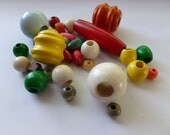 32 Vintage Bright Wooden Beads - Various Shapes and Sizes - Wood