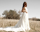 SALE- Vintage Revived Eco Wedding Gown With Long Train One Of A Kind