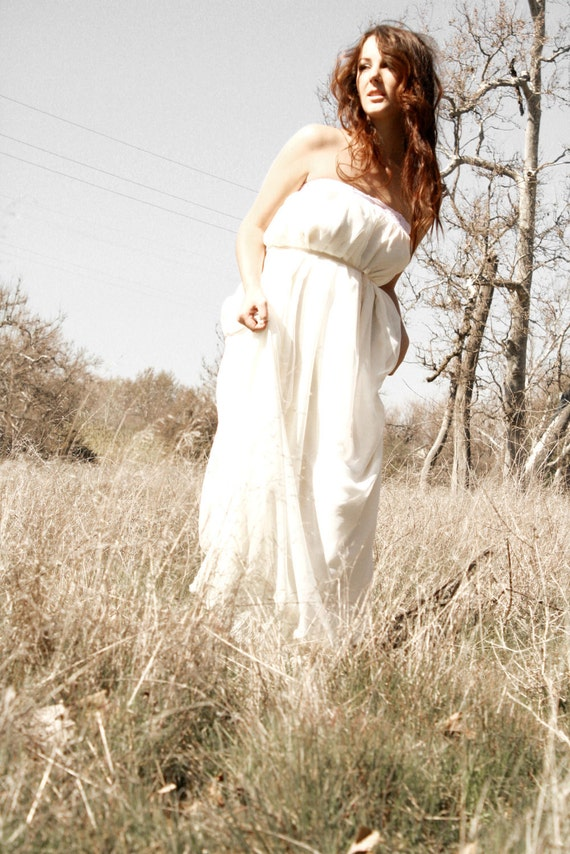 RESERVED Petal- Soft Chiffon Bohemian Gown Two Ways To Wear Sample Gown