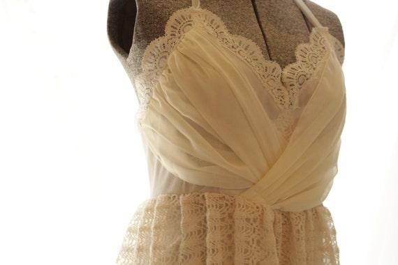 Wedding Dress Vintage Love- Short Chiffon And Crochet Eco Friendly SALE