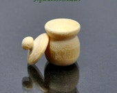 Winnie's Honey Pot - Miniature Lidded Pot, Bare Wood Honey Pot, Unfinished Small Jar