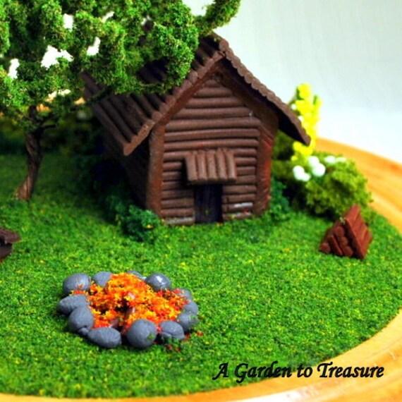 Cabin in the Woods - Miniature Terrarium Garden, 4 inch Mini Desktop Garden, Camping Fishing Diorama