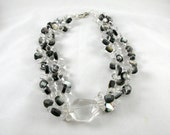 Double strand of Rock crystal necklace with mother of pearls