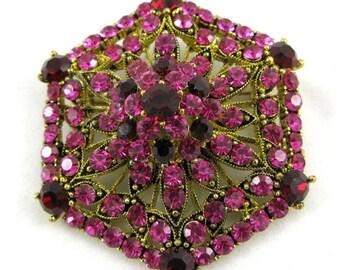 Fuchsia Fashionable Brooch with Swarovski Crystals