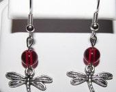 Silver Dragonfly Red Beaded Handmade Earrings