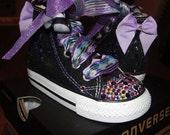 Baby Infant Toddler Converse Bling BlackFun Diva Shoes Swarovski Custom Pageant Photos Party Birthday etc
