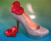 Large Red Sequins and Bead Heart Shoe Clips  - Handmade