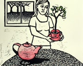 Cup of Tree (Linocut of a Girl with Teapot and Cup)