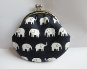 FREE SHIPPING - Small Handmade Coin Purse White Elephant in the black