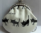 FREE SHIPPING - Little Handmade Coin Purse 4 Little cute Kawaii Black Kittens
