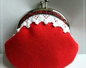 FREE SHIPPING - Little Handmade Coin Purse Lace and Red