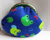 FREE SHIPPING - Little Handmade Coin Purse Funny Frog