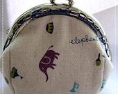 FREE SHIPPING - Handmade Coin Purse Circus Elephant