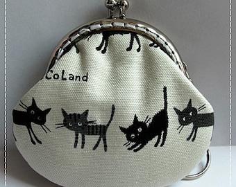 FREE SHIPPING - Little Handmade Coin Purse 4 Little cute Kawaii Black Kittens