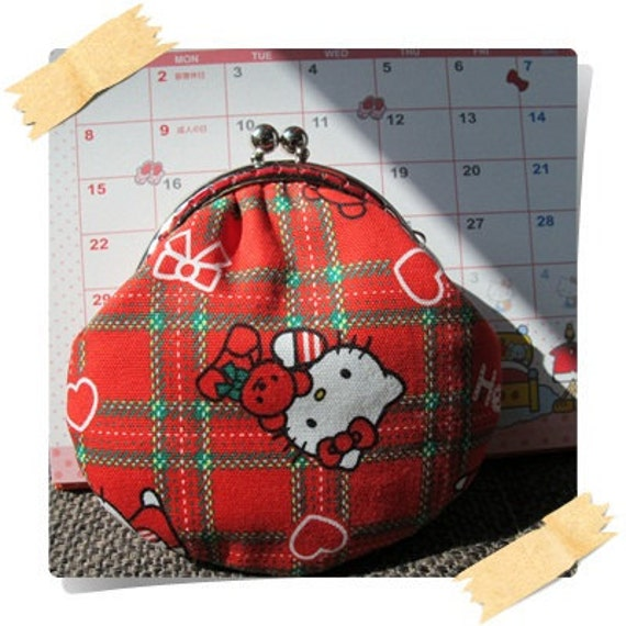 Handmade Coin Purse - Hello Kitty with Bear