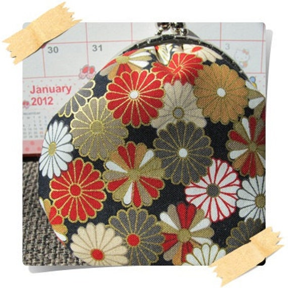 Clearance Handmade Coin Purse - Japan Kimono Chrysanthemum