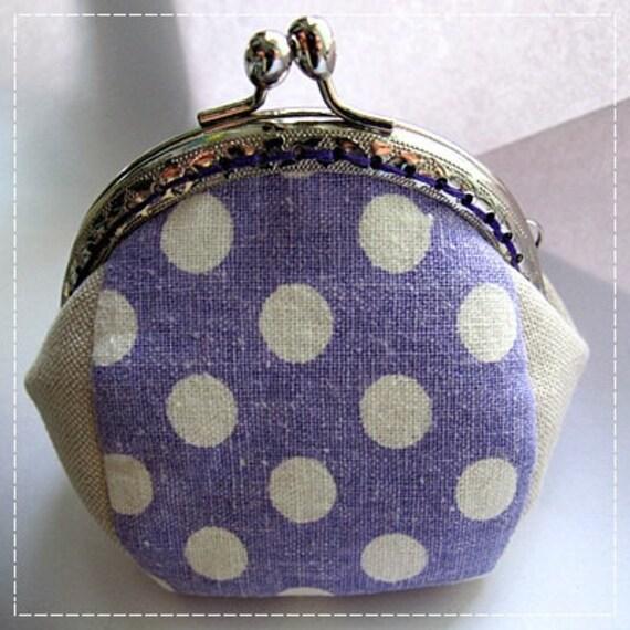 FREE SHIPPING - Handmade Coin Purse Purple Polka Dot