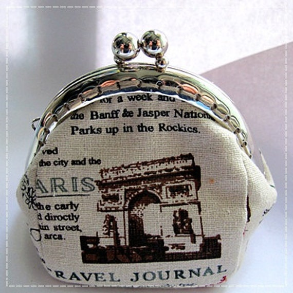 FREE SHIPPING - Handmade Coin Purse Paris Newspaper