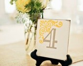 Wedding Table Numbers 1-5 Custom Colors Weddings Decor Table Numbers Yellow and Grey