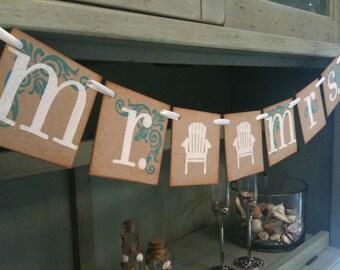 Mr. and Mrs. Beach Chair Sign | Wedding Banner |  Beach Wedding Photo Prop | Beach Wedding Decoration | Beach Bridal Shower | Beach Wedding