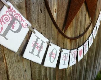 Photo Booth Wedding Banner | Wedding Decoration | Wedding Sign | Photo Booth Decoration | Rose and Grey Wedding Sign