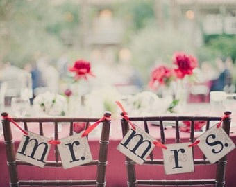 Mr. and Mrs. Wedding Banner | Wedding Chair Decor or Photo Prop | Mr. Mrs. Wedding Signs | Bride and Groom Signs | Wedding Decoration