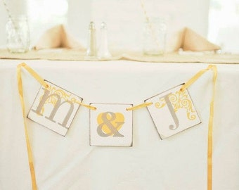 Initials Wedding Sign / Initials Wedding Banner / Wedding Photo Prop Sign / Wedding Decoration / Bridal Shower Banner / Bridal Shower Decor