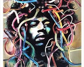 "Jimi Hendrix Concert poster - Psychedelic poster - 13""x19"" or 24""x36"" print - 60s psychedelic art design - Jimi Hendrix fan gift"