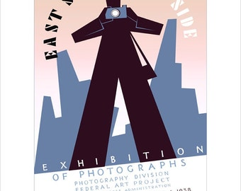 """Camera art - Photo Exhibition - Vintage camera  - WPA Poster Print - 11""""x14"""" or 16""""x20"""" - Photographer gift"""
