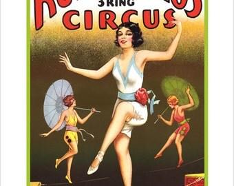 CIRCUS Poster -Tightrope Walkers - 3 Ring Circus art Print wall hanging - Americana art - Carnival art Circus Poster - State fair art