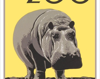 Philadelphia art print - Philadelphia Zoo - Hippo - WPA Poster Print  - 13x19