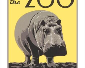 "Philadelphia Zoo Print - Hippo or Hippopotamus - WPA Poster Print - 11""x14"" or 16""x20"" print"