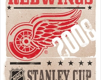 DETROIT REDWINGS poster - Stanley Cup - 13x19 - print Boys room Man cave decor