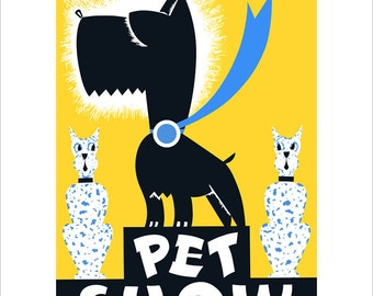 Vintage poster - Pet Show - WPA Poster Print -11x14 - Scottish Terrier print