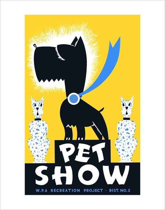 Vintage poster - Pet Show - WPA Poster Print -11x14 - Scottish Terrier print