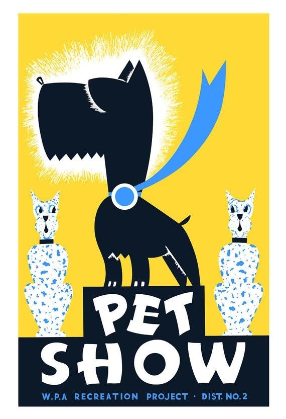 Scottish Terrier art print - Pet Show - WPA Poster Print - 13x19 -