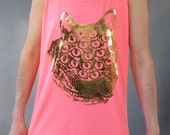 GOLDEN Mutant Kitty Tank. Neon PInk. Size 2