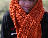 Crocheted Scarf extra long in pumpkin