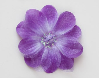 Purple Silk and Organza Flower Embellishment for Baby Headbands - Valerie Collection